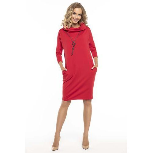 528ab032ae76e0 Codzienna Czerwona Sukienka z Szerokim Golfem, T246re (Tessita ...