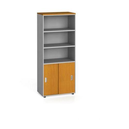 B2b partner Szafa biurowa, przesuwne drzwi na 2 półki, 1781 x 800 x 420 mm, czereśnia