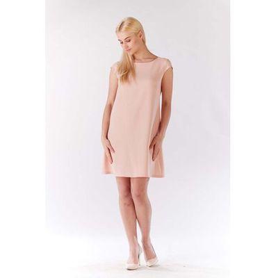 a1158dac2d Różowa Sukienka Zwiewna Trapezowa z Mini Rękawkiem