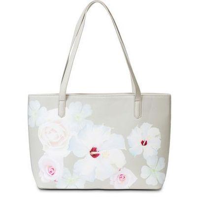 b1cd7bcd9da6e Bonprix Torebka shopper w kwiaty jasnoszaro-kolorowy bonprix