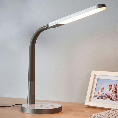 Szara lampka biurkowa led maily, usb i ściemniacz marki Lindby