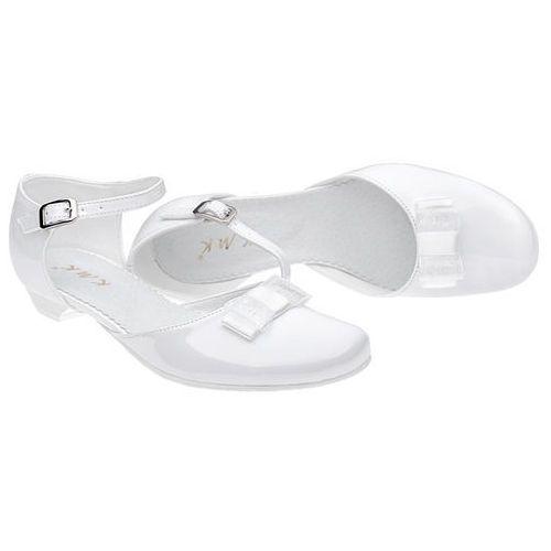 2ad593d1 Pantofelki buty komunijne dla dziewczynki KMK 204 Białe Lakierki - Biały -  foto produktu