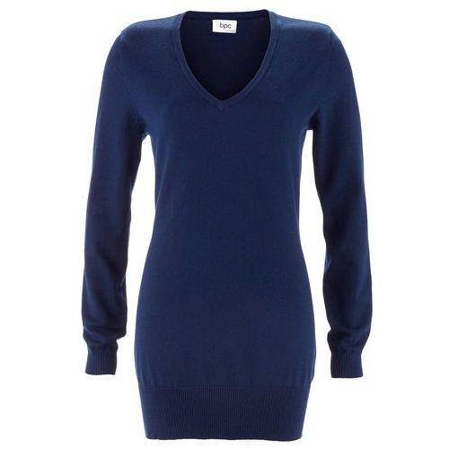Długi sweter bonprix ciemnoniebieski, bawełna