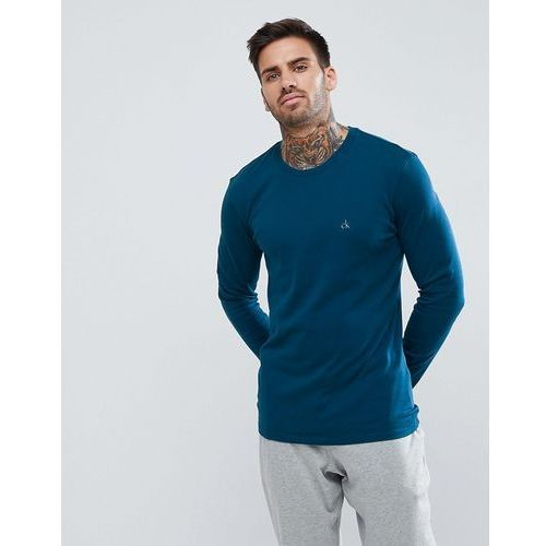 Calvin Klein Liquid Cotton T-Shirt with Long Sleeves in Regular Fit - Blue