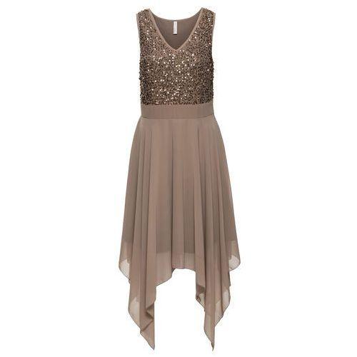 Sukienka wieczorowa z cekinami bonprix jasnobrązowy, 1 rozmiar