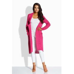 Fuksja Długi Sweter-Narzutka z Kieszeniami, kolor różowy