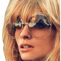 Okulary damskie złote okrągłe przeciwsłoneczne
