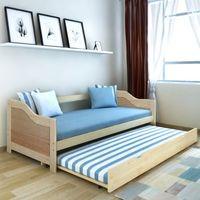 vidaXL Wysuwane łóżko sosnowe/sofa 200x90 cm Naturalny kolor Darmowa wysyłka i zwroty