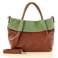 Zielona skórzana torebka typu kuferek handbag marco mazzini