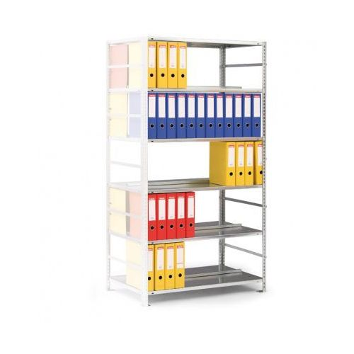 Regał na segregatory COMPACT, szary, 8 półek, 2550x1000x600 mm, dodatkowy