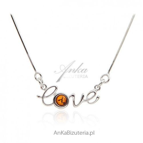 50ddf693dfb8c0 Ankabizuteria.pl naszyjnik srebrny z bursztynem love marki Anka biżuteria