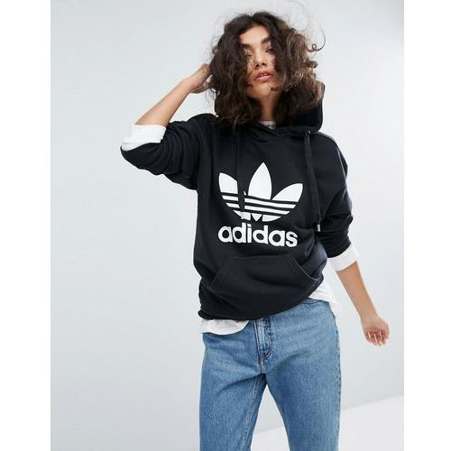 Adidas originals Adidas trefoil pullover hoodie in black - black