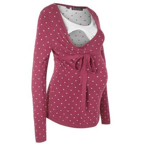Sweter ciążowy /do karmienia piersią bonprix czerwony rododendron w kropki, w 8 rozmiarach