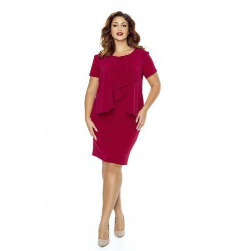 200ebb2f54 Bordowa Sukienka Elegancka Warstwowa z Żabotem Plus Size