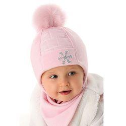 Czapka niemowlęca różowa- wiązana 5X35AA