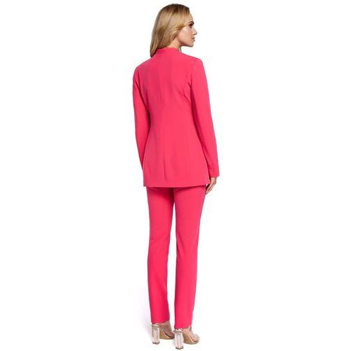 529140d33053d ... Elegancka dłuższa marynarka damska zapinana na jeden guzik różowa M304,  kolor różowy - Zdjęcie produktu ...