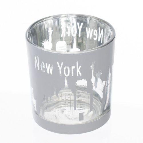 świecznik new york white na tealighta 7,5x8cm, 7,5x8cm Dekoria