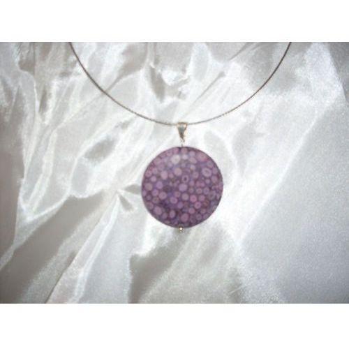 N-00015 Naszyjnik z fossilu oceanicznego,fioletowego, kolor fioletowy