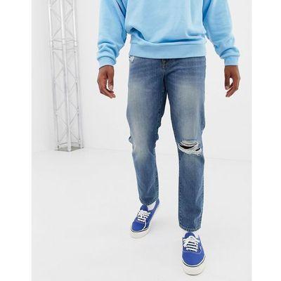 3af92f5d 12.5oz slim jeans in vintage mid wash with knee rips - blue marki Asos  design ASOS