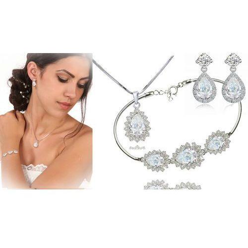 Mak-biżuteria Kpl885 komplet ślubny, biżuteria ślubna z cyrkoniami b599/812 k599/545 n599.814
