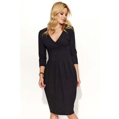 0a1b212530 Czarna sukienka typu bombka z kopertowym dekoltem marki Makadamia MOLLY