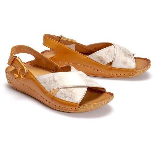 MACIEJKA 00994-41/00-5 rudy przecierka, sandały damskie - Brązowy ||Złoty