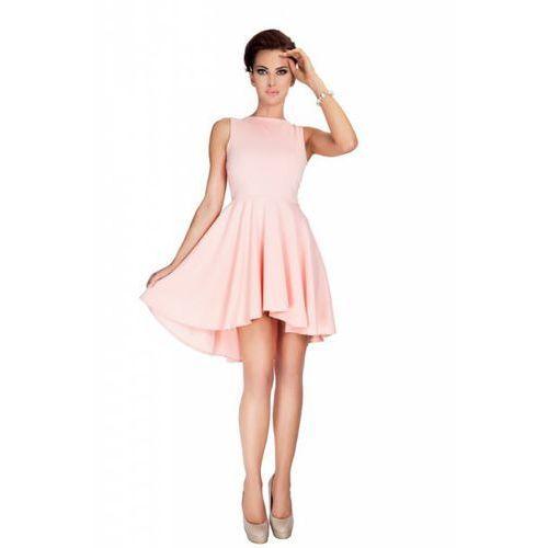 33-1 lacosta - ekskluzywna sukienka z dłuższym tyłem - brzoskwinia, Numoco