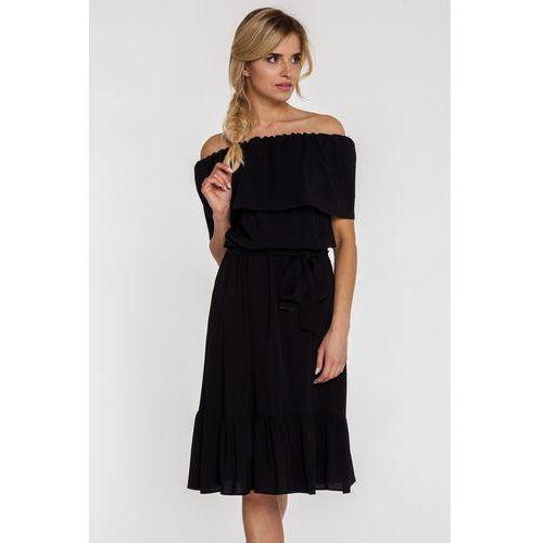 Czarna sukienka z odsłoniętymi ramionami - Gapa fashion