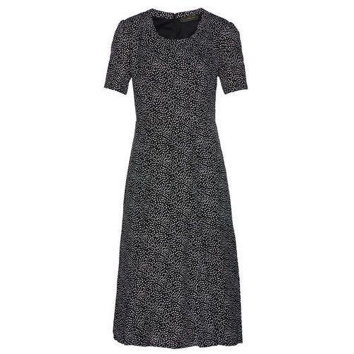 Sukienka midi bonprix czarno-biały w kropki, wieczorowa