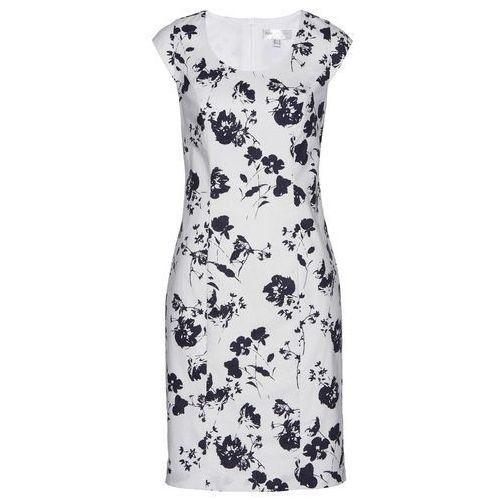 Lniana sukienka ołówkowa bonprix biało-ciemnoniebieski z nadrukiem