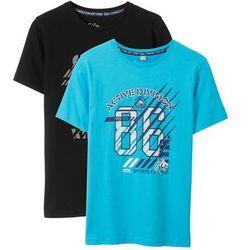 Bonprix T-shirt (2 szt.) czarny + turkusowy