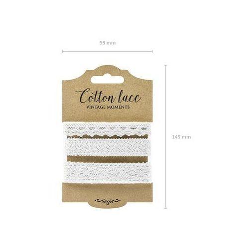 Zestaw koronek bawełnianych białych - 3 wzory marki Party deco