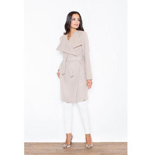 Figl Beżowy elegancki płaszcz oversize przewiązany paskiem