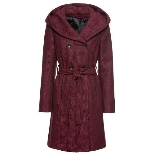 Krótki płaszcz z domieszką wełny czarno-czerwony, Bonprix, 34-48