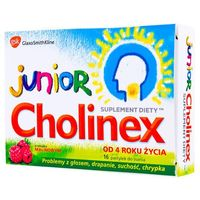 Cholinex Junior, pastylki do ssania, smak malinowy, 16 sztuk (5901208702091)