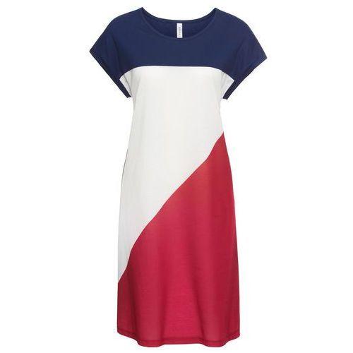 Sukienka bonprix biało-ciemnoczerwono-kobaltowy, w 8 rozmiarach