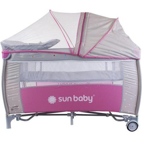 Sun baby łóżeczko z pełnym wyposażeniem sweet dreams, różowo-szare