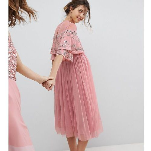 Maya Maternity Sheer Detail Sequin Cape Overlay Detail Midi Dress - Pink
