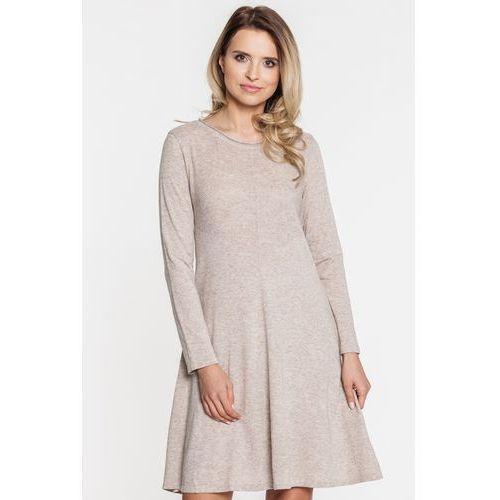 820cb102cd Bezowa sukienka dzianinowa z kaszmirem (Far Far Fashion) - sklep ...