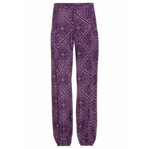 Spodnie pumpy bonprix ciemny lila - matowy bez, kolor fioletowy