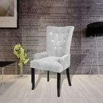 vidaXL Fotel jadalniany, tapicerowany, czarna rama i srebrny aksamit
