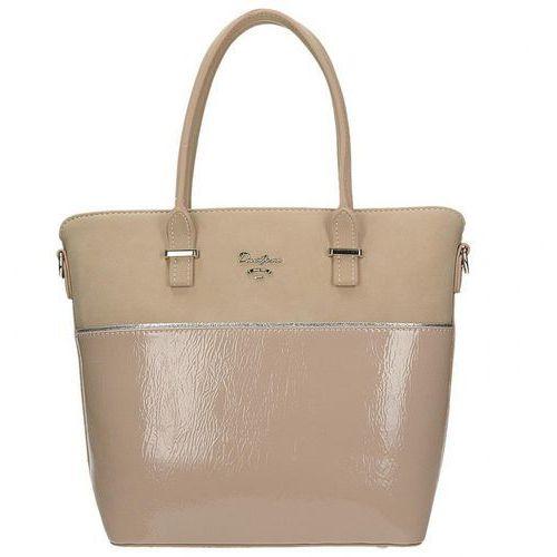 14584eb375bb8 ... Klasyczna torba damska w odcieniach beżu z lakierowanym przodem 5930-3  marki David jones ...