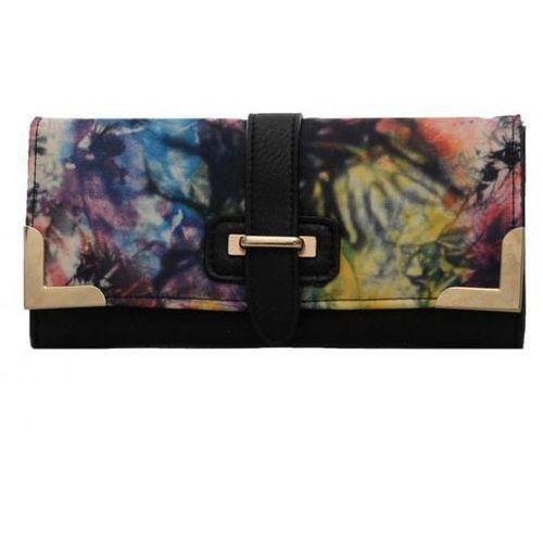 Czarny portfel damski z kolorowym nadrukiem - czarny   kolorowy Wielka brytania