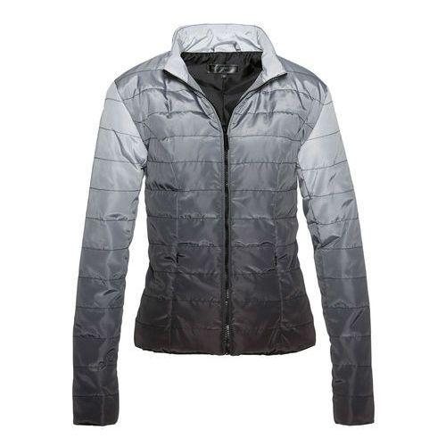 Kurtka pikowana w cieniowanym kolorze czarno-matowy srebrny Bonprix