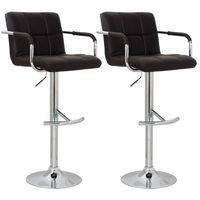 Vidaxl eleganckie krzesła barowe, brązowe z oparciem i podłokietnikami