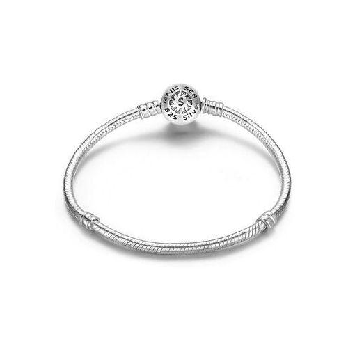 Rodowana srebrna bransoleta pandora baza charms kulka ball 19cm srebro 925 sl001 marki Valerio.pl