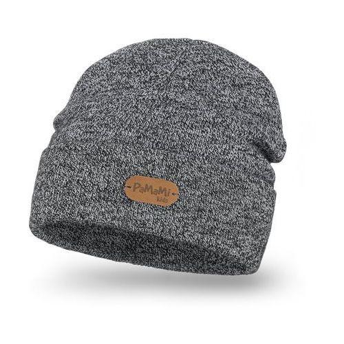 Stylowa czapka dziecięca z wywinięciem PaMaMi - Jasnoszara mulina - Jasnoszara mulina (5902934077644)