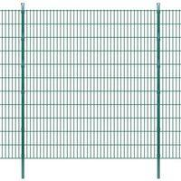 vidaXL Panele ogrodzeniowe 2D z słupkami - 2008x2230 mm 14 m Zielone (8718475985372)