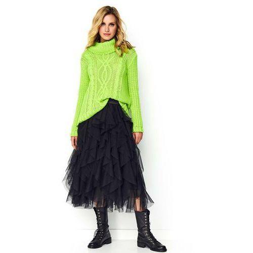Czarna Zwiewna Warstwowa Spódnica Tiulowa, kolor czarny