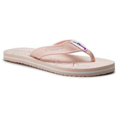 Japonki - iridescent detail beach sandal fw0fw04236 silver peony 658, Tommy hilfiger